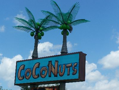 2 lighted LED Palm Trees on a Coconuts sign