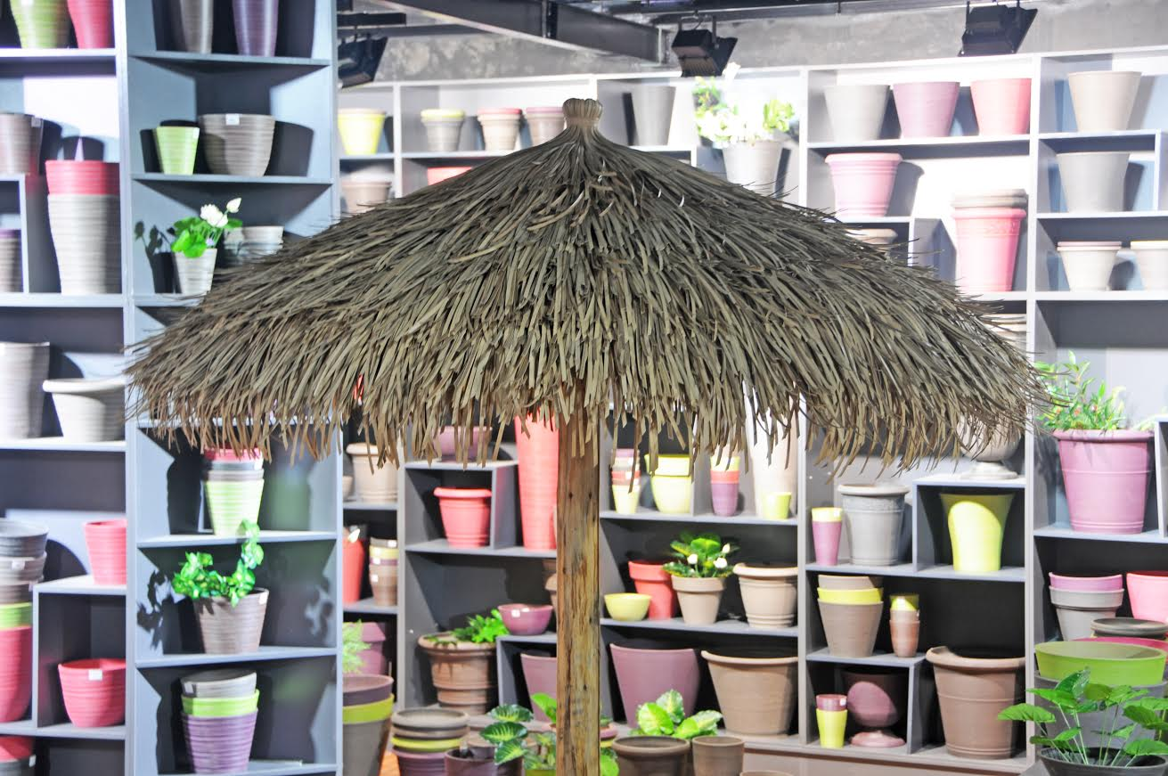 thatched umbrella